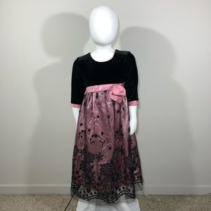 Black and Pink Fit and Flare Girls Dress